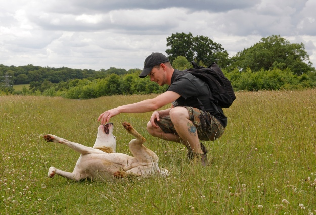 Me and Loki out in the fields of Hertfordshire back in 2011.