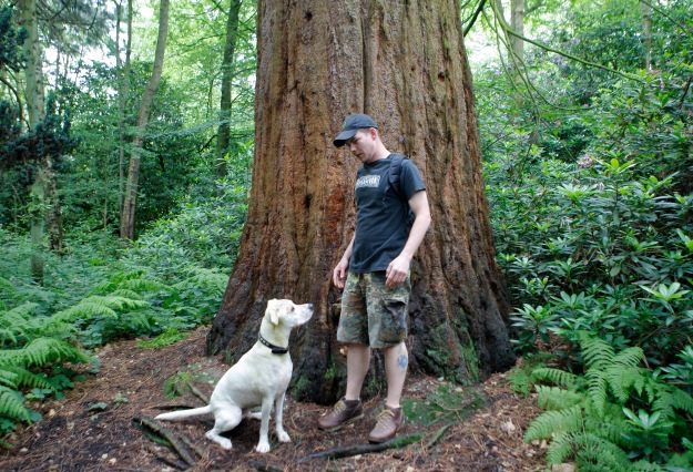 Loki and I out for a walk in the woods.
