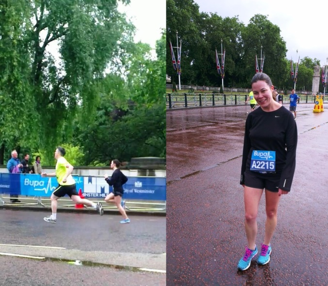 Gabrielle covering a move over the last 80m and then about a minute after finishing - tired but happy!