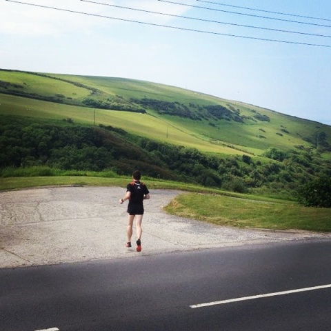 Heading out for the downhill section of my long run...running back up later is the challenge!