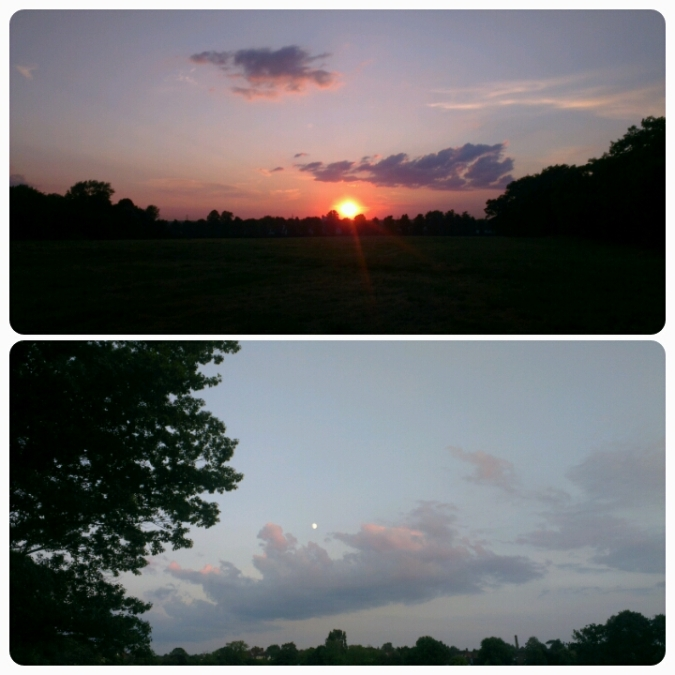 Sunset and Moonrise on the run. Beautiful.