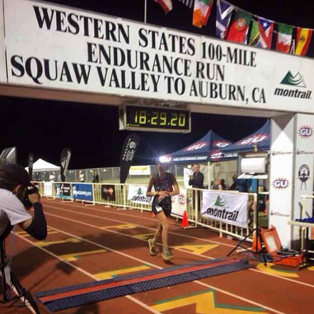 Larisa Dannis crosses the line in 2nd place after running the entire Western States 100 in an aerobic state!