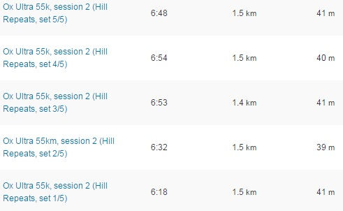 Ox Ultra 55k, session 2 (5x Hill Repeats)