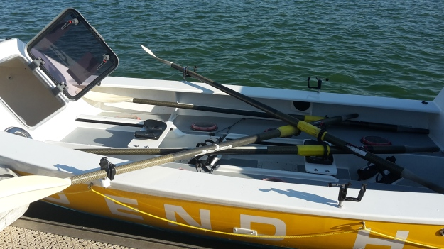 L Seat: Bow postion. R Seat: Stroke position. Stroke position sets the pace whilst bow position steers the boat.