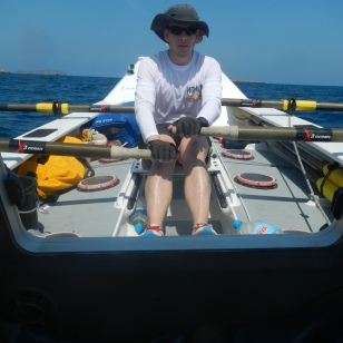Rowing out from Port Ibiza on Day 1.