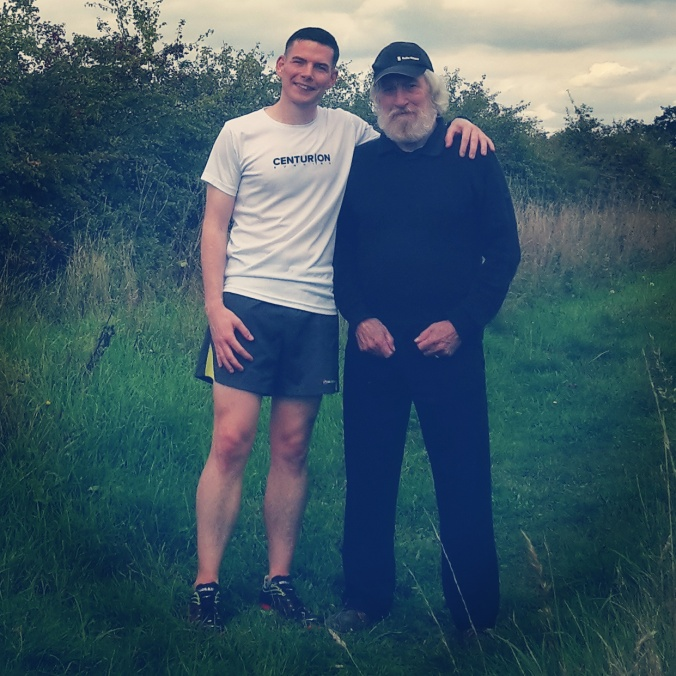 Hanging out with my Dad before and after my Saturday long run.