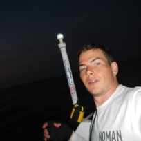 After rowing through the night in pure darkness the flash of a camera is quite startling!