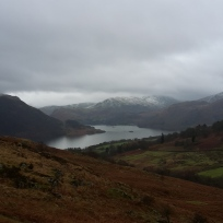 Looking down on Ullswater from the side of Gowbarrow Fell.