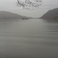 Looking from the shore of Ullswater up towards Pooley Bridge.
