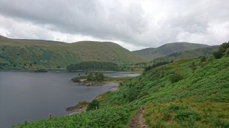 Haweswater and the trail to CP2 at Mardale Head.
